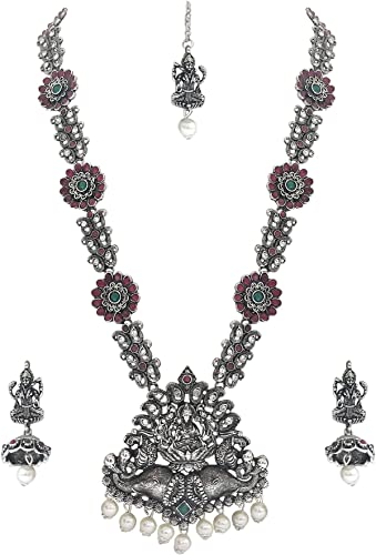 German Silver Oxides Temple Jewelry Of Elephant Seating God Laxmiji With Beautiful Peacock Antique Necklace Set For Women And Girls