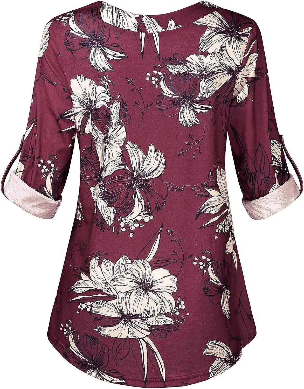 Hibelle Womens Cuffed Long Sleeve V-Neck Casual Tunic Blouse Tops