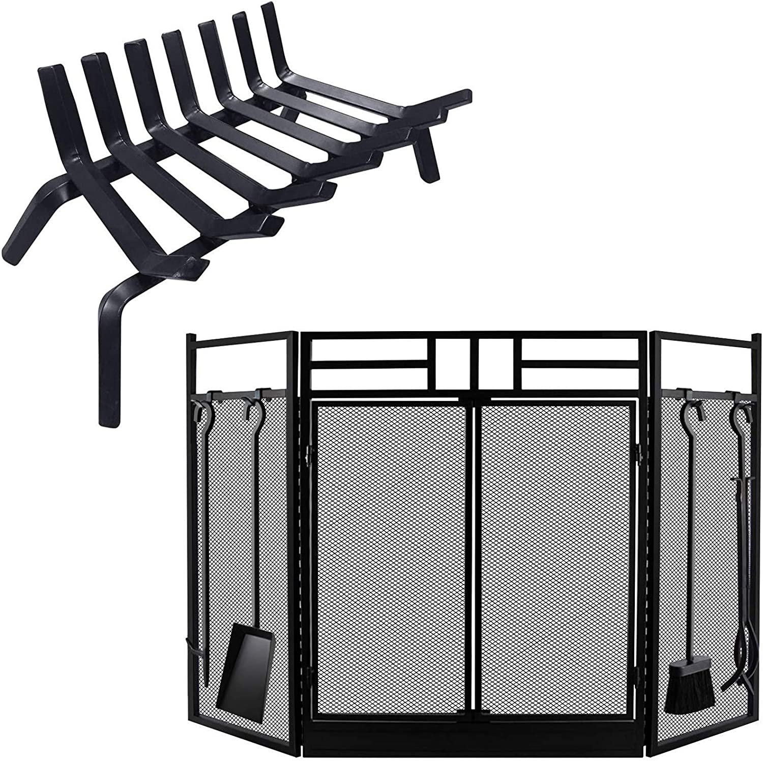 Amagabeli Black Wrought Denver Mall Iron Fireplace Grate Challenge the lowest price of Japan ☆ inch Log Bundle 21