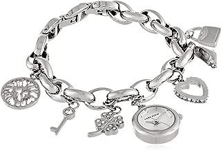 Women's 10-7605CHRM Swarovski Crystal Silver-Tone Charm Bracelet Watch