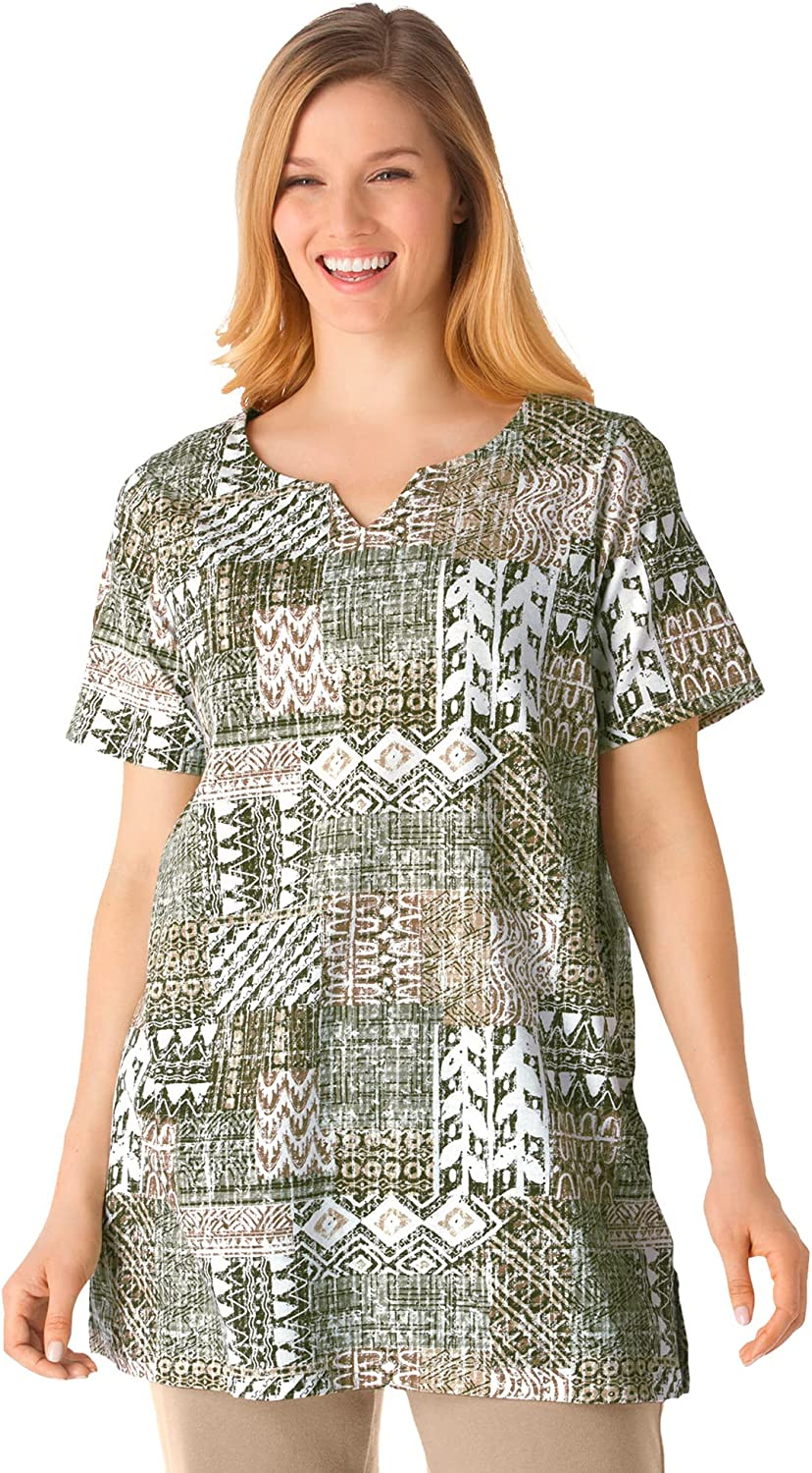Woman Within Women's Plus Size Print Patchwork Knit Tunic