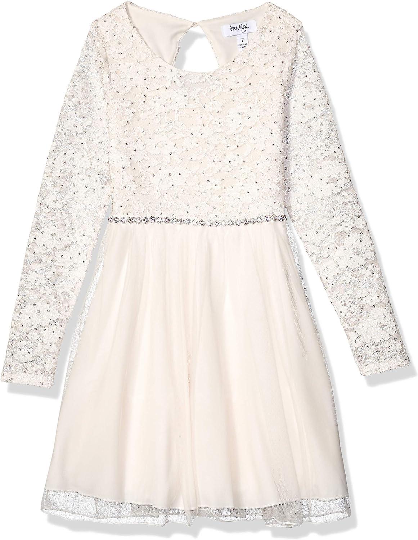 Speechless Girls' Long Sleeve Sparkle Belt Dress