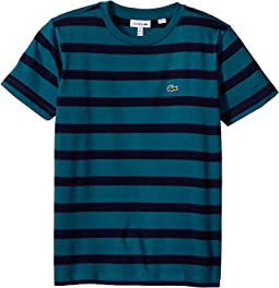Short Sleeve Heathered Stripe Crew Neck Tee Shirt (Toddler/Little Kids/Big Kids)