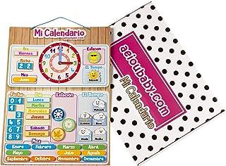 aeioubaby.com Calendario Reloj Magnético Infantil, Juego Educativo Fecha Tiempo y Hora para Pared o Frigorífico, 43x32cm. Caja Cumpleaños de niños en Colegio o Guardería (Español)