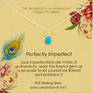 Perfectly Imperfect Teardrop Turquoise Sterling Silver Necklace 18'' Length