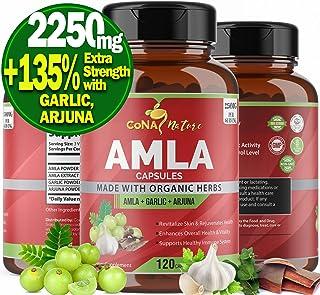 Amla Capsules 2250mg & Arjuna, Garlic   Natural Vitamin C Supplements, High Antioxidants, Rejuvenator   Supports Immunity,...