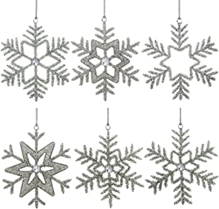 ShalinIndia Set of 6 Handmade Snowflake Iron and Glass Pendant Christmas Ornaments, 6 Inches - Ideal decorations for 25th Anniversary