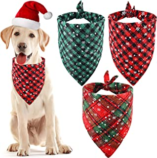 Syhood 3 Pieces Christmas Pet Bandanas Triangle Pet Bibs Plaid Dog Scarf Kerchief for Christmas Pet Costume
