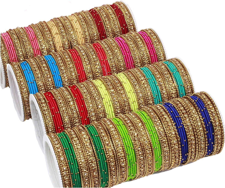 SANARA Ethnic Indian Bollywood Gold Plated Multi Color Thread Bangles Women Wedding & Partywear Bangle Arrangement Jewelry
