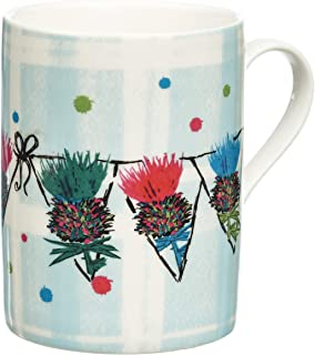 Scottish Thistle Bunting Coffee Mug/Tea Cup. Handcrafted Scottish Gift with Outlander Inspired Artwork on a Plaid Background