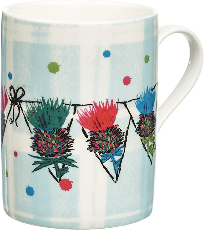 Scottish Thistle Bunting Coffee Mug Tea Cup Scottish Gift Of Unique Genuine Authentic And Handcrafted Quality With Outlander Inspired Artwork On Plaid Background