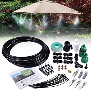 MIXC 26.2FT Outdoor Mist Cooling System Fan Misting Kit Animal Plants Swimming Pool Cooler with 1/4inch Tube Hose Pipe 7 B...