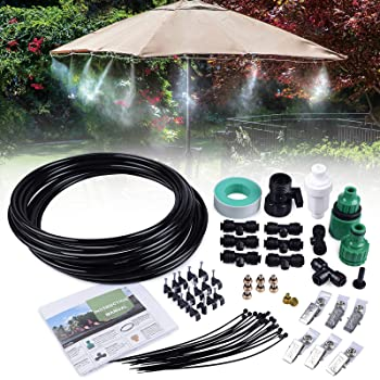 20FT Outdoor Misting Cooling System Fan Cooler Patio Water Mister Mist Nozzles