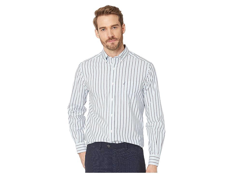 Nautica Long Sleeve Blue Stripe Shirt (Alaskian Blue) Men's Clothing