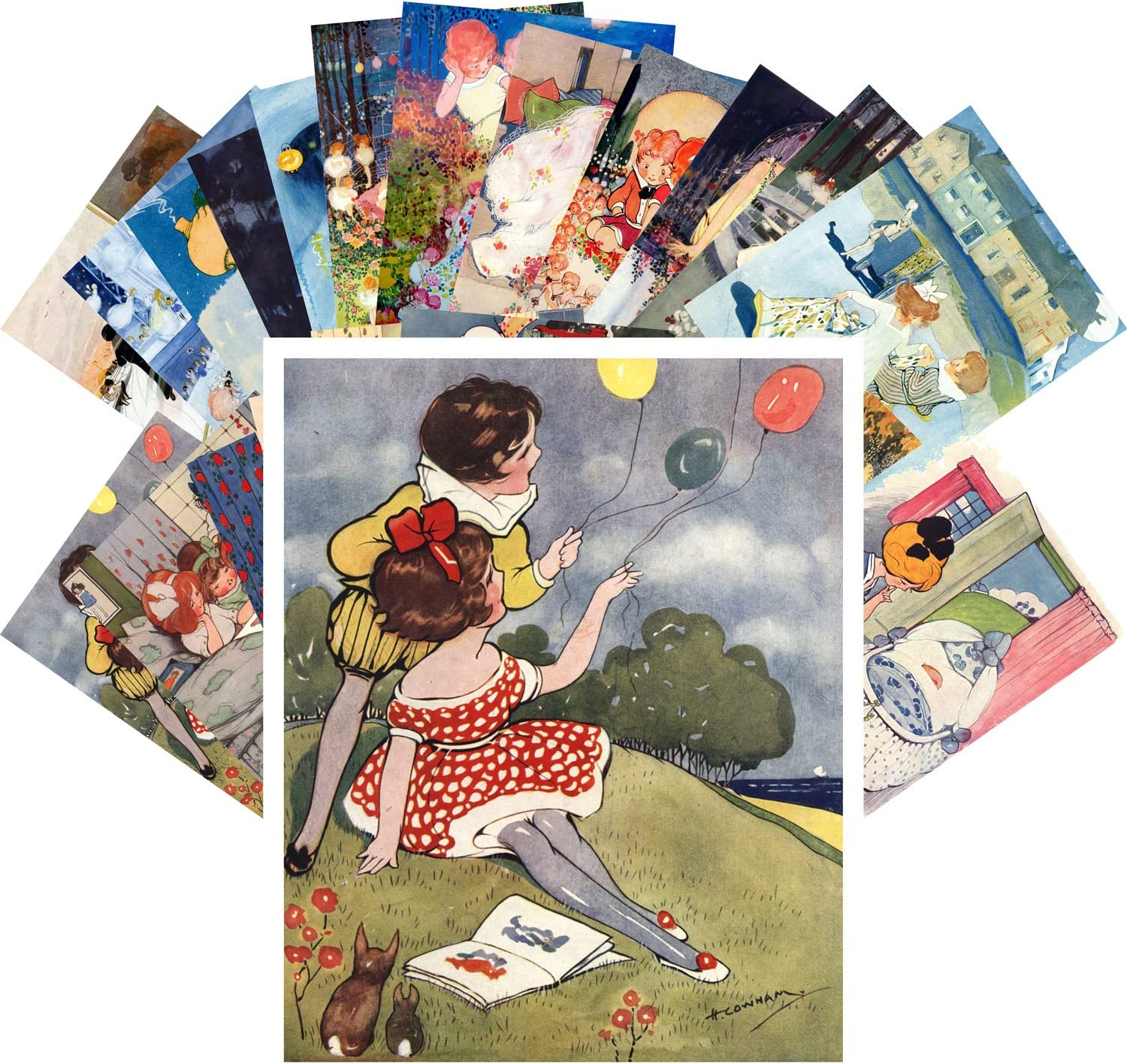 Super beauty product restock quality top! Postcard Set 24pcs Young Girls Play Ranking TOP14 and Friend Vintage Illu Book