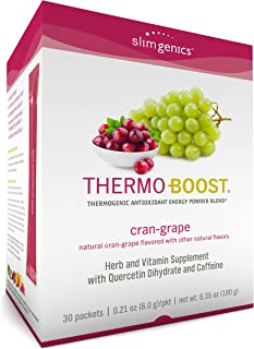 SlimGenics Thermo-Boost ®   Thermogenic Powder Energy Drink Mix – Antioxidant, Anti-Aging Properties - Metabolism Booster for Weight Loss - Fights Fatigue and Inflammation (Cran-Grape Flavor)