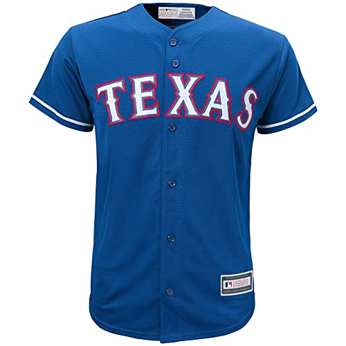 b43135066 OuterStuff Texas Rangers Word Mark Blue Youth Cool Base Alternate Replica  Jersey