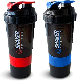Protein Shaker Bottle - Storage 2 Pack Fitness Sports Water Bottle - Non Slip 3 Layer Twist Off Cups with Pill Tray - Leak...