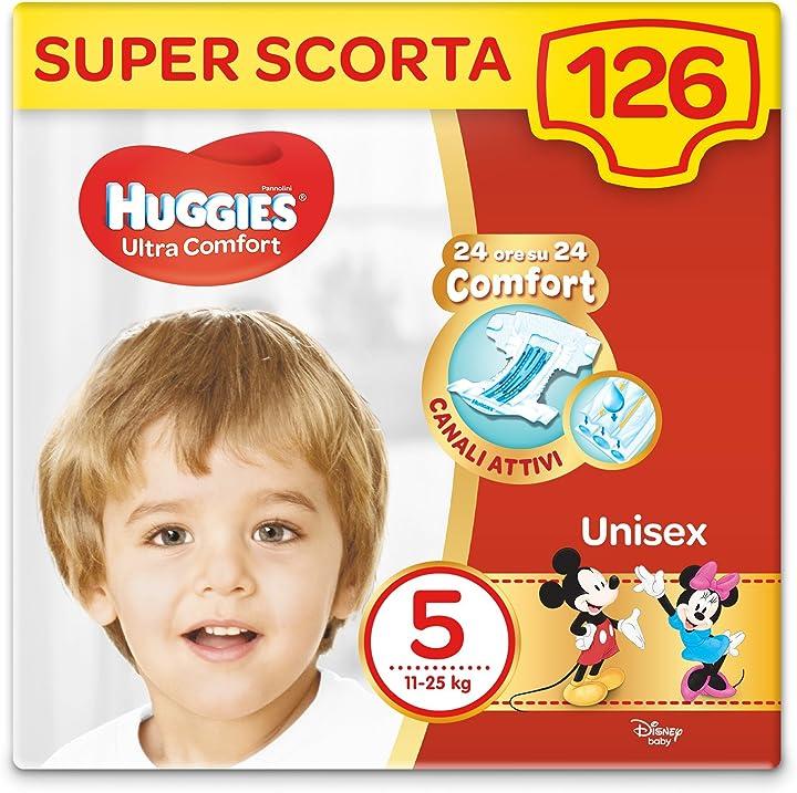 Pannolini ultra comfort, taglia 5 (11-25 kg), confezione da 126 pannolini (3 x 42) huggies