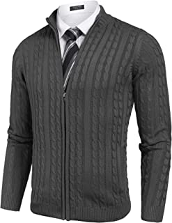 COOFANDY Men's Full Zip Cardigan Sweater Slim Fit Cotton Cable Knitted Zip Up Sweater with Pockets