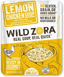 Wild Zora Instant Keto Soups - Lemon Chicken - Healthy Broth with Free Range Chicken and Vegetables - Gluten Free, AIP Fri...