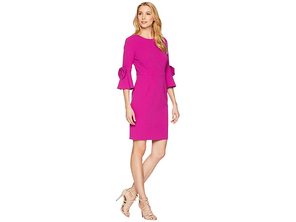 Donna Morgan 3/4 Bell Sleeve Crepe Shift Dress w/ Bow Detail at Wrist (Orchid) Women