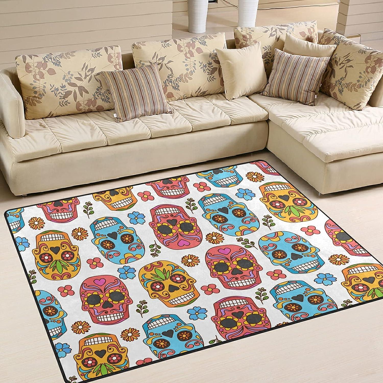 Modern Area Rugs New popularity 5x7 Washable Dedication - Sugar Halloween Skull S Dead Day