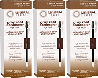 Mineral Fusion Gray Root Concealer for Hair, Medium Brown, 0.28 fl oz (PACK OF 3)