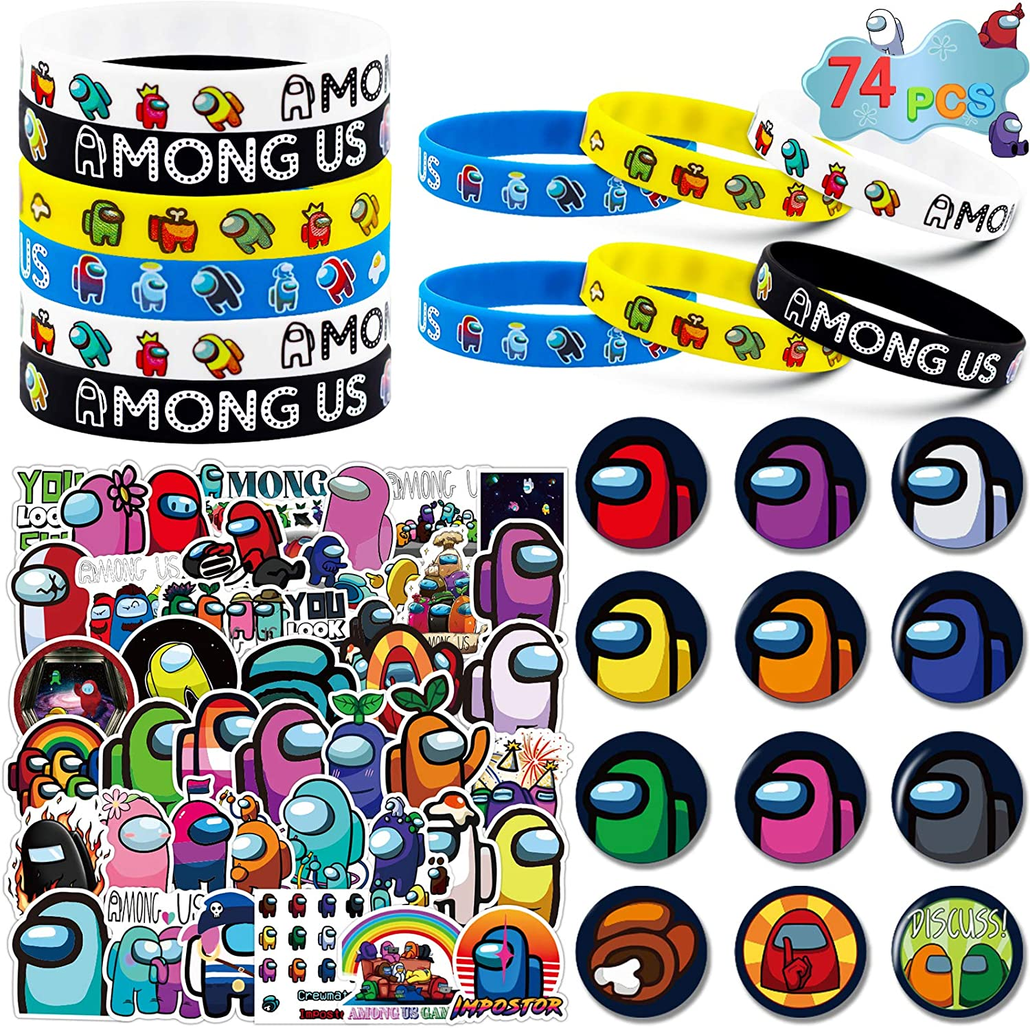 Among Us Merch, 74 Pack Birthday Party Supplies Favors Gifts Set Include 12...