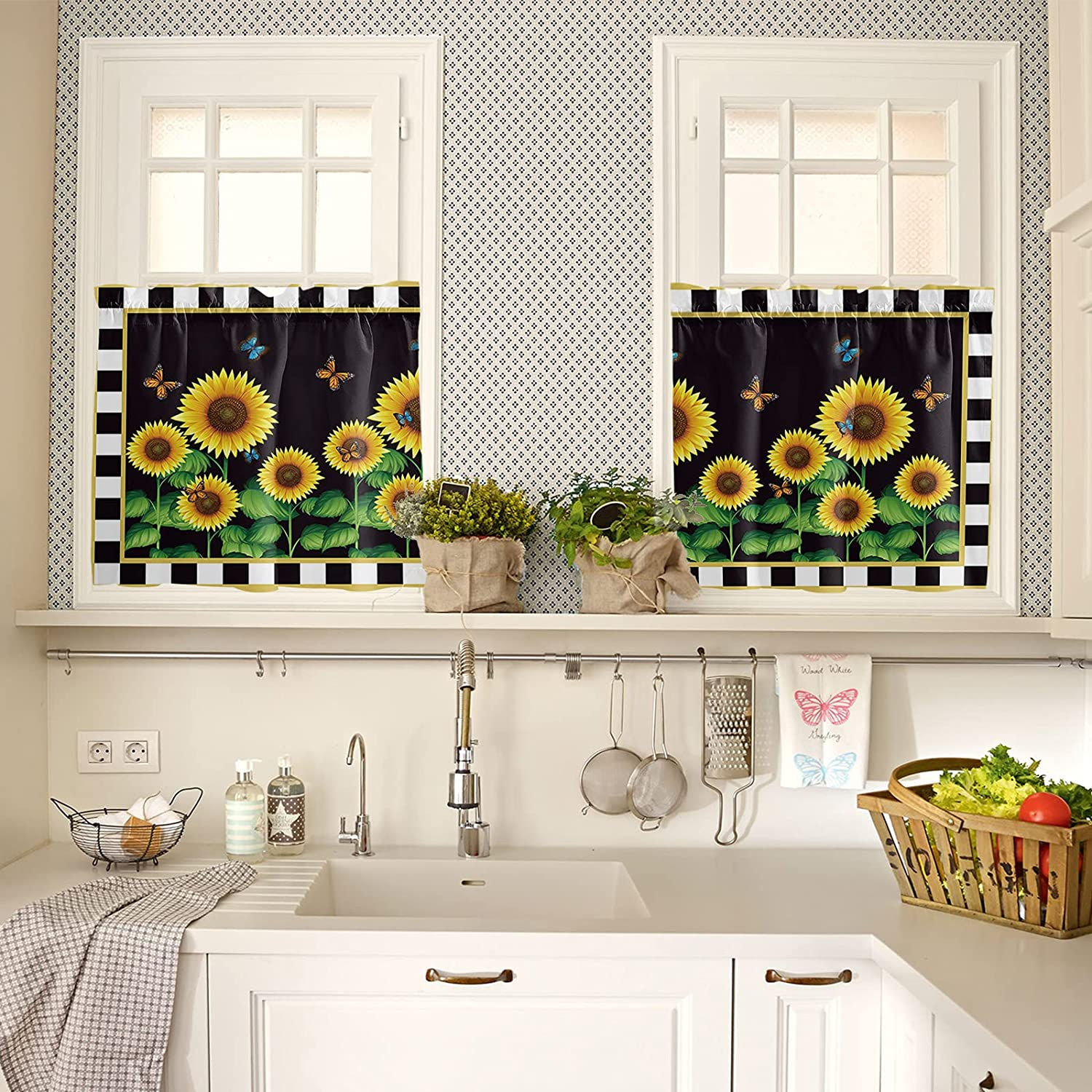Black and White Checker Grid Kitchen Curtains 36 Inch Length for