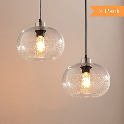 Pendant Lighting With Seeded Glass Amazoncom
