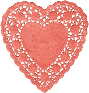 Paper Hearts Lace Doilies 100 pc (6 IN, Red Heart)