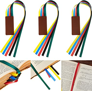 3 Pieces Ribbon Bookmark Ribbon Markers Artificial Leather Bookmark with Colorful Ribbons for Books