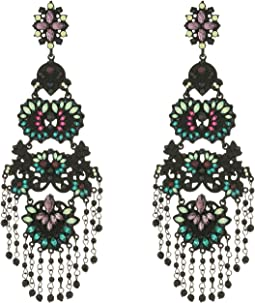 Steve Madden Casted Flower Tassel Post Earrings