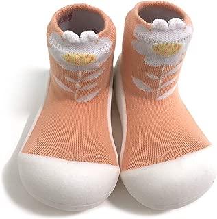 [Attipas] アティパス ベビーシューズ [ フラワー ]/ かわいいベビーシューズ 滑り止め 公園遊び 出産祝い プレゼント あんよの練習 保育園靴 ソックスシューズ プレシューズ 室内履き 女の子