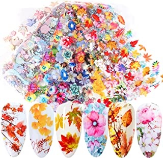 Fall Nail Art Stickers Maple Leaf Nail Foils Transfer Sticker Nails Designs Supply Autumn Flowers Leaves Nail Decals Thank...