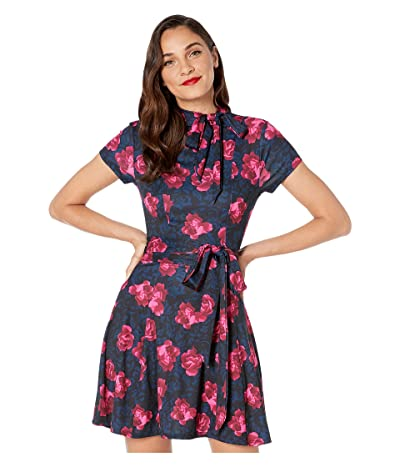 Unique Vintage 1960s Style Floral Print Bancroft Fit-and-Flare Dress (Navy/Pink) Women
