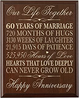 LifeSong Milestones 60th Wedding Anniversary Wall Plaque Gifts for Couple, 60th Anniversary Gifts for Her,60th Wedding Anniversary Gifts for Him 12