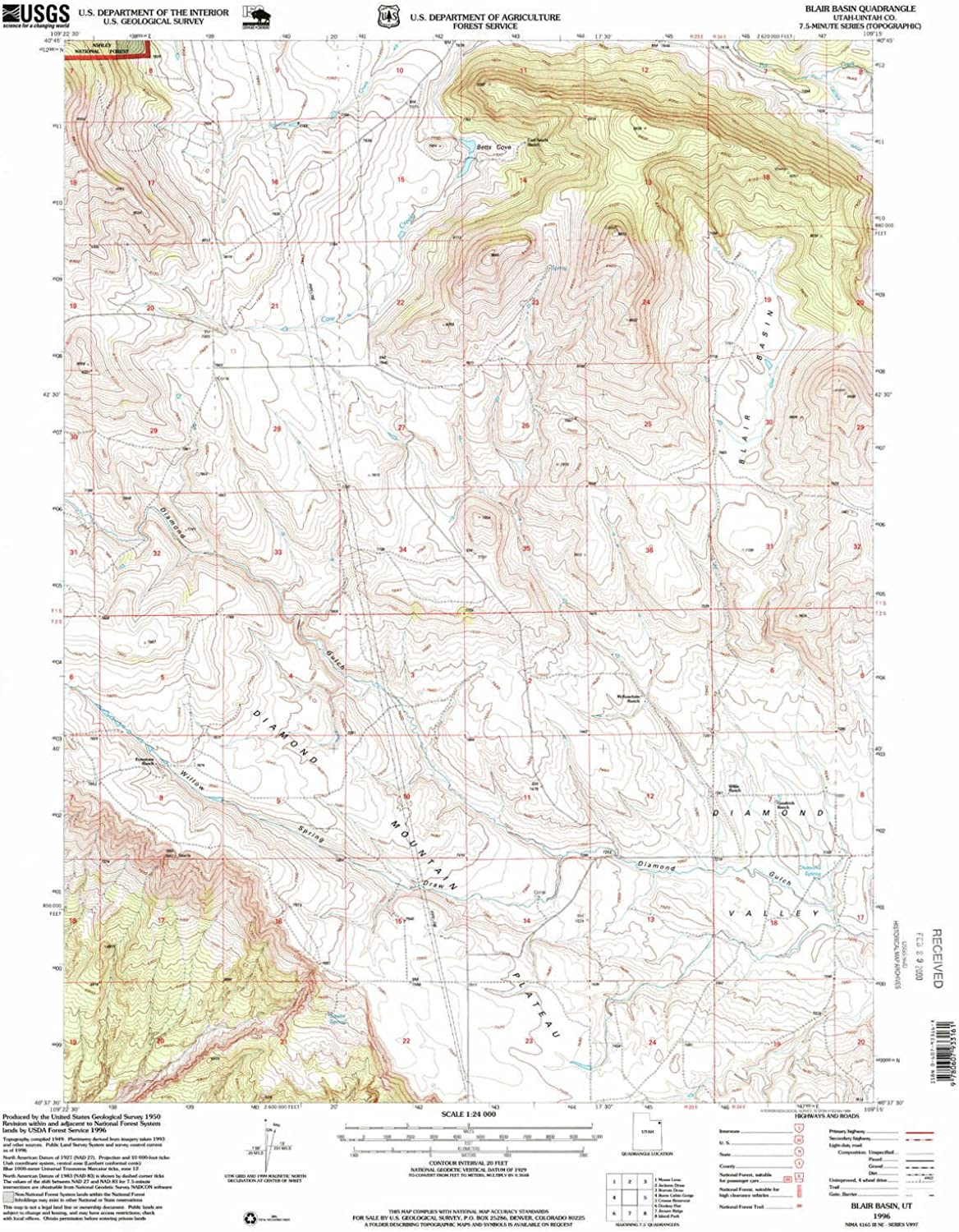 Blair Basin UT topo map, 1 24000 Scale, 7.5 X 7.5 Minute, Historical, 1996, Updated 1999, 26.7 x 21.9 in