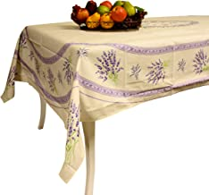 My French Neighbor Provence Tablecloth Valensole - 100% Coated Cotton - Made in France (Ivory, Rectangular 98 x 63)