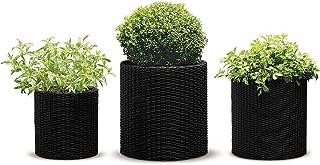 Keter 238672 3 Piece Cylinder Rattan Plastic Planter, Charcoal Grey