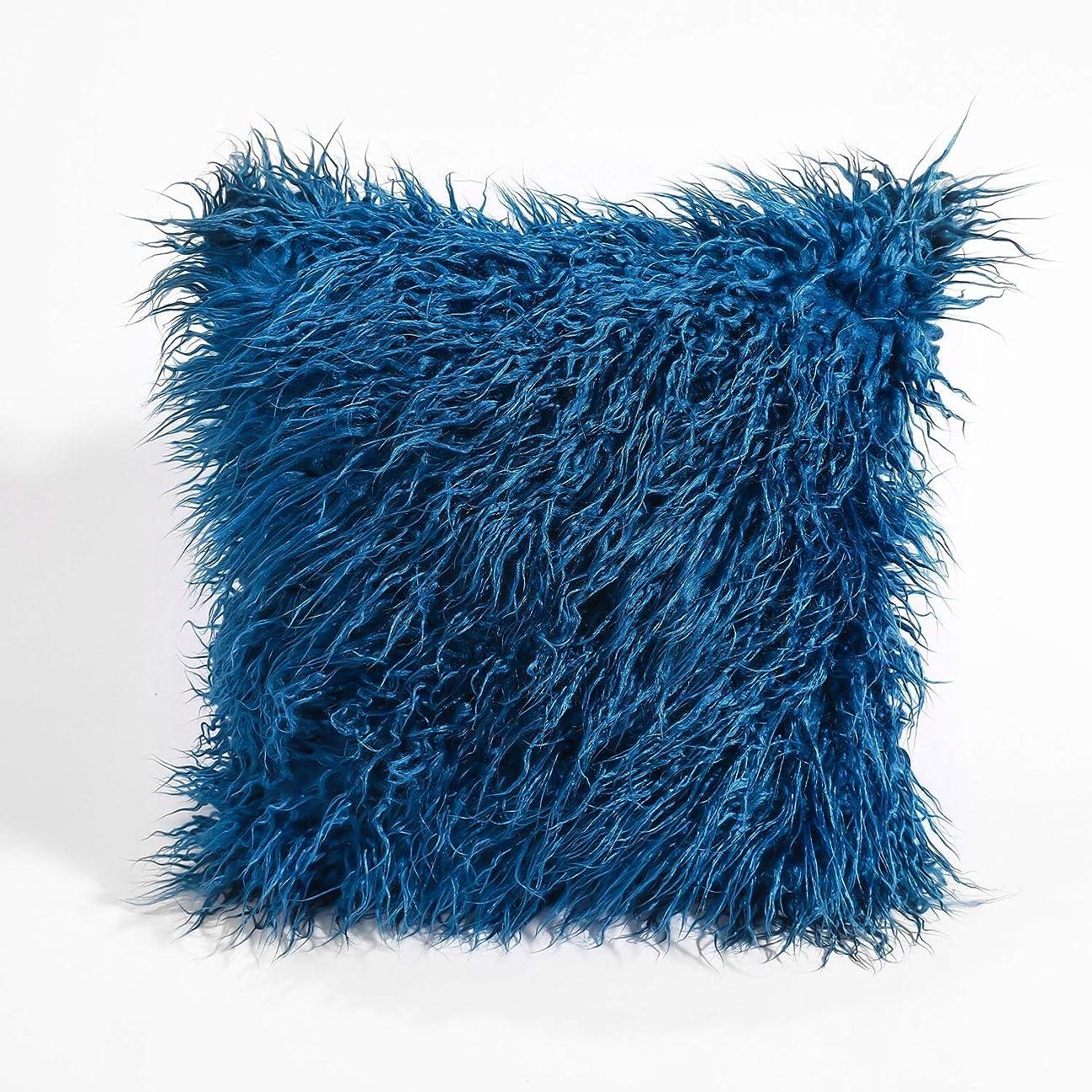 社員パワーセル無秩序LVESHOP 装飾的な新しい高級シリーズメリノスタイルブラックフェイクファースローピローケースクッションカバー(5パック) (色 : 青, Size : 5 pack)