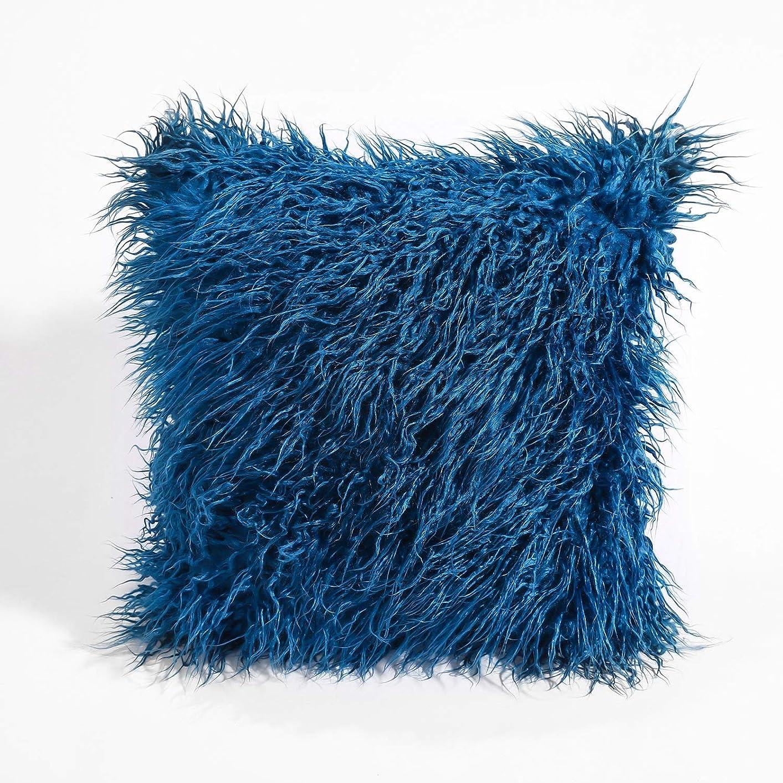 ほぼ鏡酔ったLVESHOP 装飾的な新しい高級シリーズメリノスタイルブラックフェイクファースローピローケースクッションカバー(5パック) (色 : 青, Size : 5 pack)