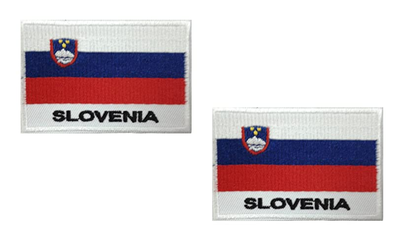 2 pieces SLOVENIA Flag Iron On Patch Applique Motif Europe Country Decal 2.7 x 1.9 inches (6.8 x 4.8 cm)