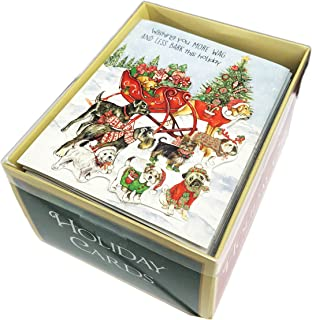 Wishing you More Wag & Less Bark this Holiday Festive Multi Dog Breeds on Santa's Sleigh Embellished Box of 18 Christmas Holiday Greeting Cards & Coordinating Envelopes