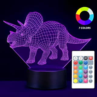 Dinosaur Night Light for Kids, 7 Different LED Color Dinosaurs 3D Night Light for Kids, Bedside Triceratops Lamp with Remote Control & USB, Birthday Gifts for Boys Girls Kids Baby (Giftbox)
