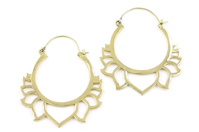 Lotus Flower Brass Earrings 1 year warranty Jew Tribal Direct sale of manufacturer Festival