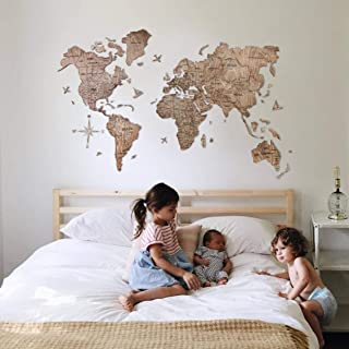 Large Wall Decor Wood World Map of the World Travel map Wall world Cork Rustic Home decor Office decor Wall decor Dorm Living room Interior Fathers Day Gift - By Enjoy The Wood