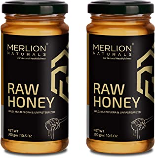 Sponsored Ad - Merlion Naturals Raw Honey, Wild / Forest, Multiflora, and Unpasteurized (21 OZ (2 Pack of 10.5 OZ))