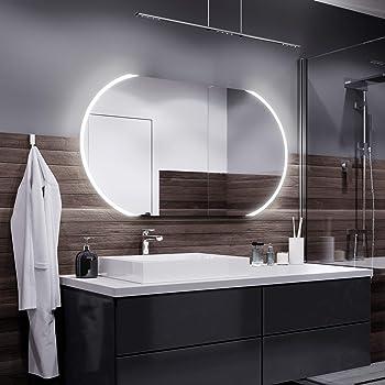Meykoers Specchio da parete per bagno a LED 3000-6400K con illuminazione armadietto da parete con multifunzione